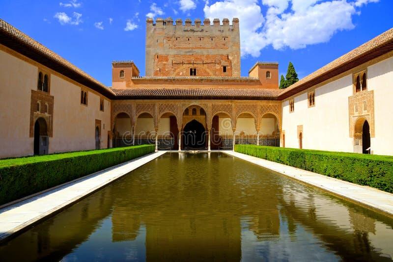 Cour des myrtes, Alhambra, Grenade, Espagne photos libres de droits
