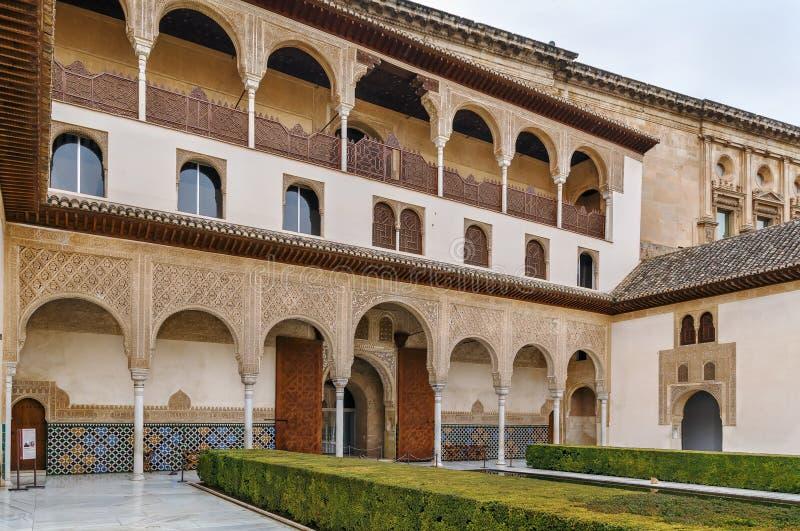 Cour des myrtes, Alhambra, Grenade, Espagne image stock