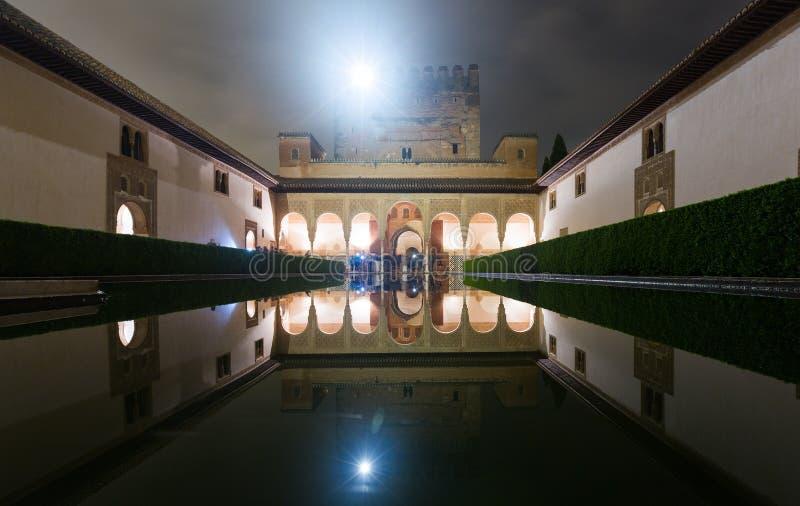 Cour des myrtes dans la nuit à Alhambra photographie stock
