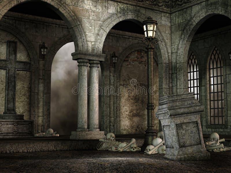 Cour gothique avec des crânes illustration stock