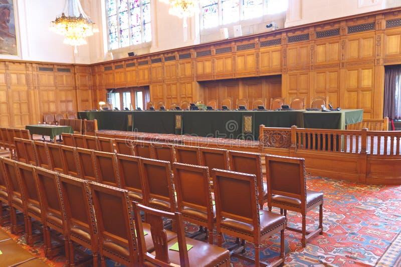 Cour internationale de Justice d'auditoire de tribunal d'ICJ photo libre de droits