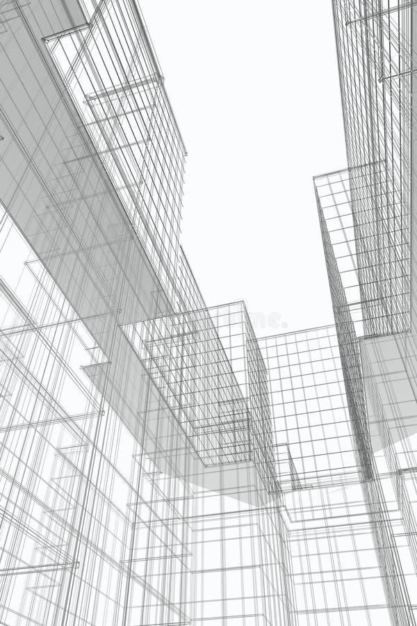Cour moderne de constructions, Wireframe illustration libre de droits