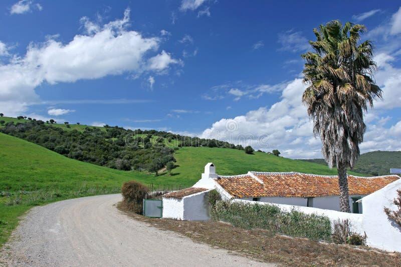 Cour ou Cortijo dans la campagne espagnole d'Andalucian image libre de droits