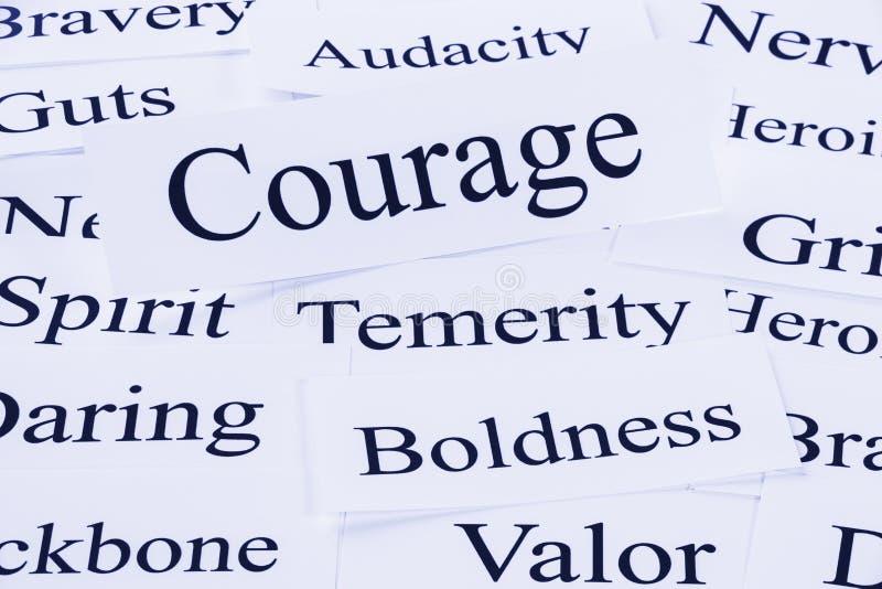 Courage Concept. A conceptual look at courage, temerity, boldness, audacity, valor stock photos
