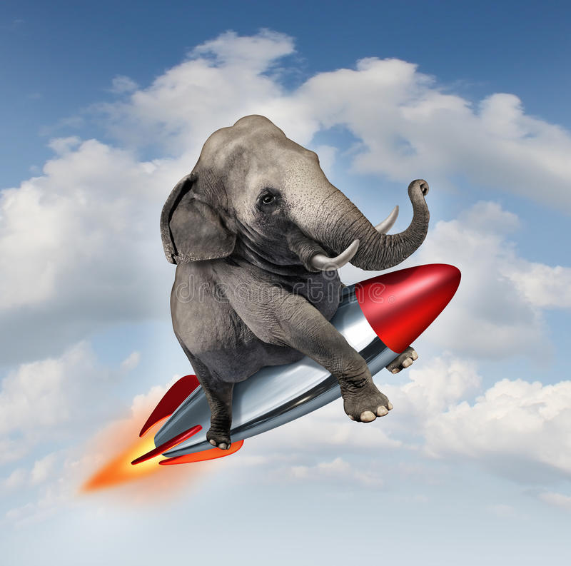 Courage And Determination. As a potential and possibilities concept with a realistic elephant flying in the air using a rocket as a business symbol of royalty free illustration