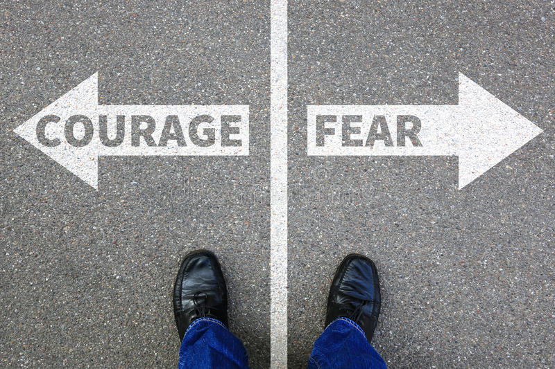 Courage and fear risk safety future strength strong business con royalty free stock photography