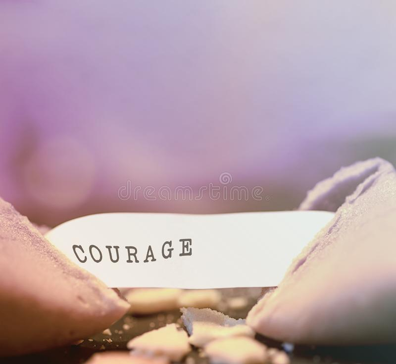 Courage fortune cookie. Pink background royalty free stock photos
