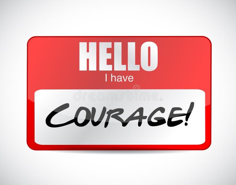 Courage name tag illustration design. Over a white background stock illustration