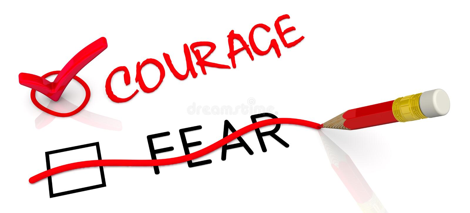 Courage but not fear. The concept of changing the conclusion. The red pencil corrected black word FEAR to red word COURAGE. Isolated. 3D illustration stock illustration