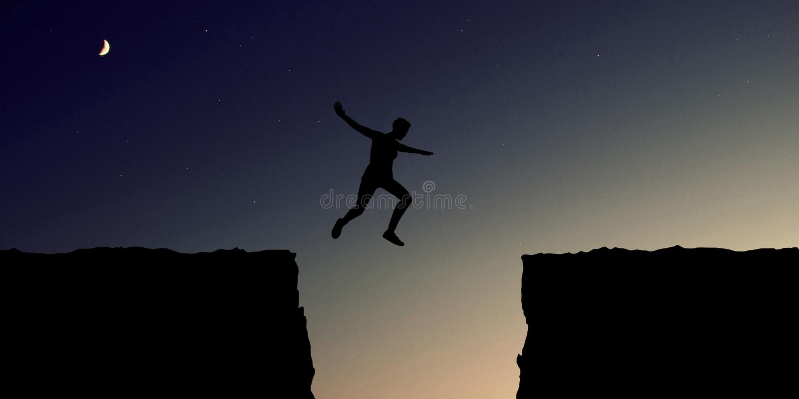 Courage and overcoming concept with big leap. Courage for risk and motivation Concept with sport and fitness People jumping over a canyon stock photo