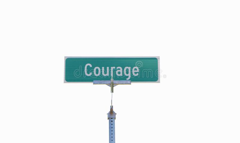 Courage. Is the quality of mind or spirit that enables a person to face difficulty, danger, pain, etc., without fear; bravery stock photo