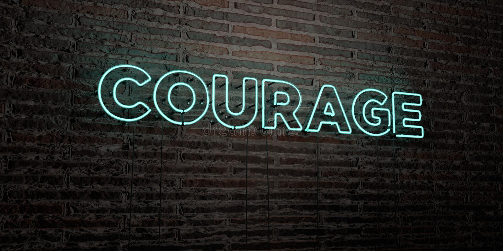 COURAGE -Realistic Neon Sign on Brick Wall background - 3D rendered royalty free stock image. Can be used for online banner ads and direct mailers stock illustration