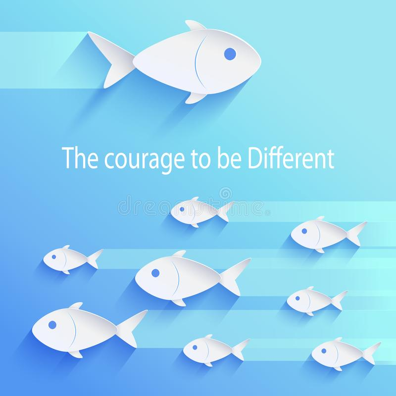 The Courage to Be Different Vector Illustration. The courage to be different, motivational picture of flock of fish in same direction and big one swimming in royalty free illustration