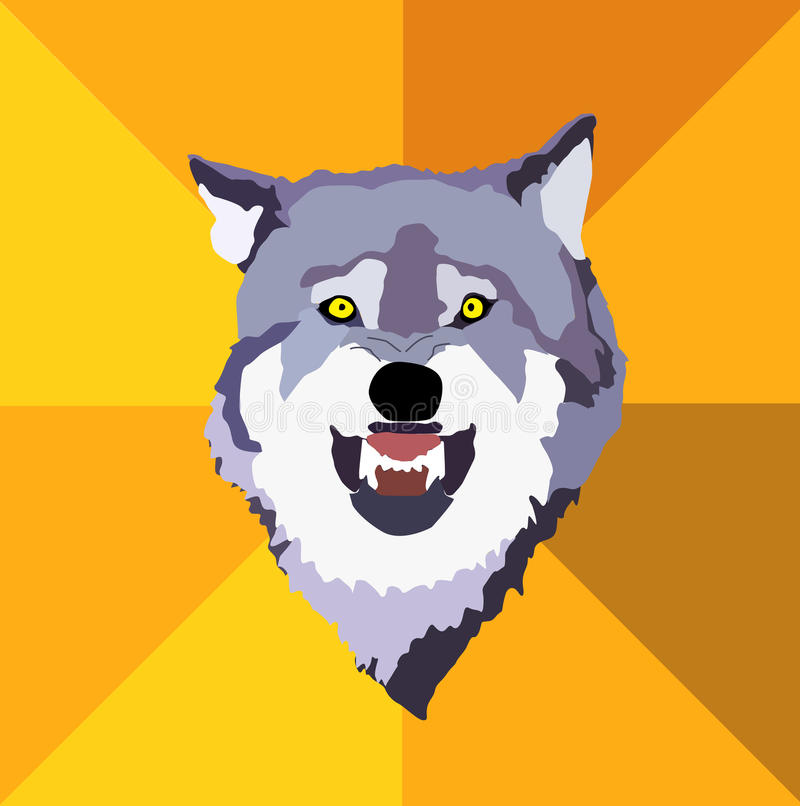 Courage wolf. Wild and fearless. Also in vector vector illustration