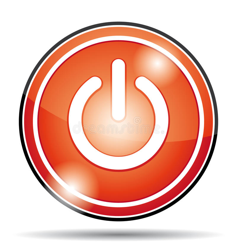 Courant électrique rouge outre d'icône de bouton illustration stock