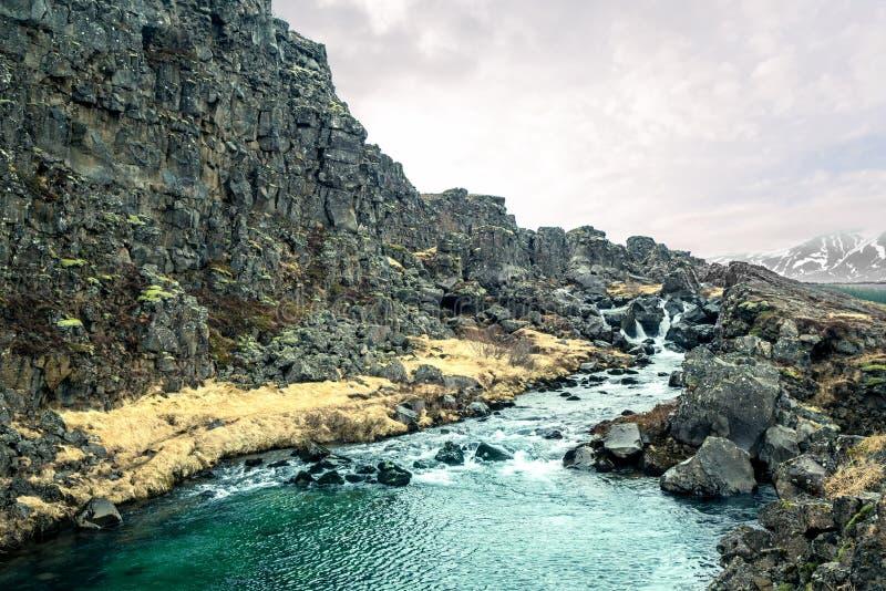 Courant de rivière en nature de l'Islande photo stock