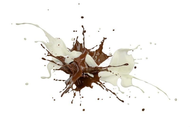 Courants de lait et de chocolat éclaboussant les uns contre les autres dans l'espace blanc photographie stock libre de droits