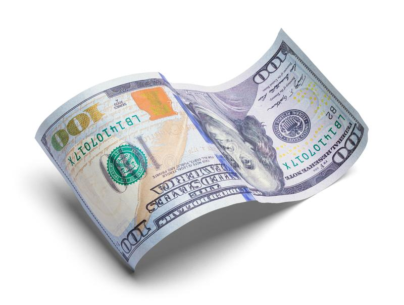 Courbé cent dollars Bill Upside Down image stock