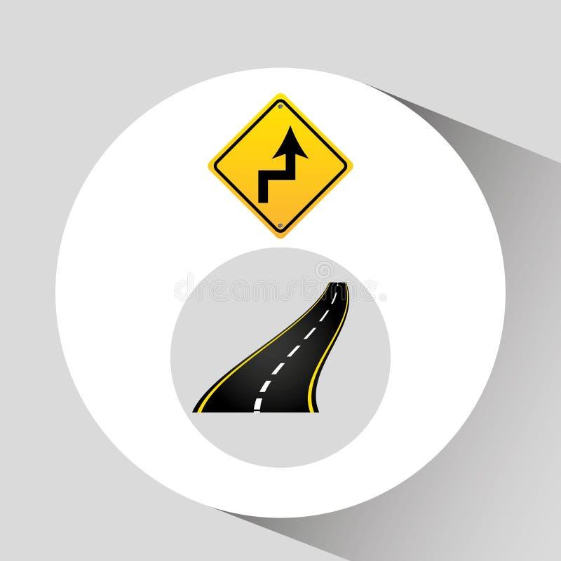 Courbe le graphique d'asphalte de concept de panneau routier illustration libre de droits