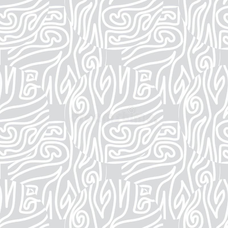 Courbes blanches grises abstraites Vecteur Répétition sans fil illustration de vecteur