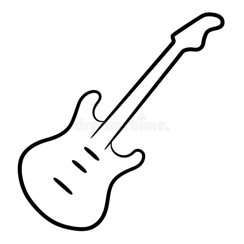 Download Courbes De Niveau De Noir De Guitare électrique Sur L'illustration Blanche De Fond Illustration Stock - Illustration du fretboard, métal: 87708550