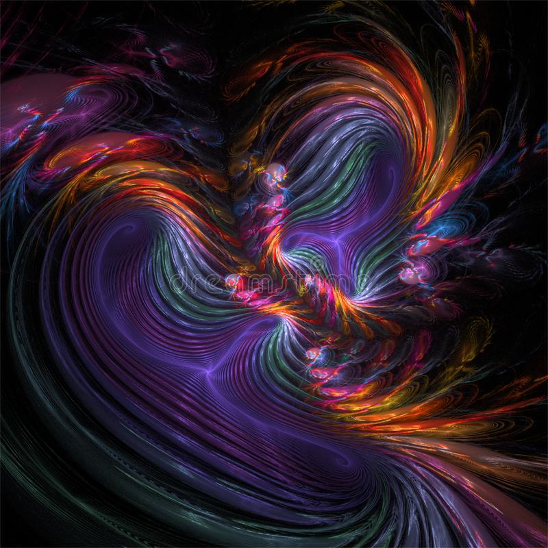 Courbes folles colorées de fractale de couleur abstraite d'art illustration stock