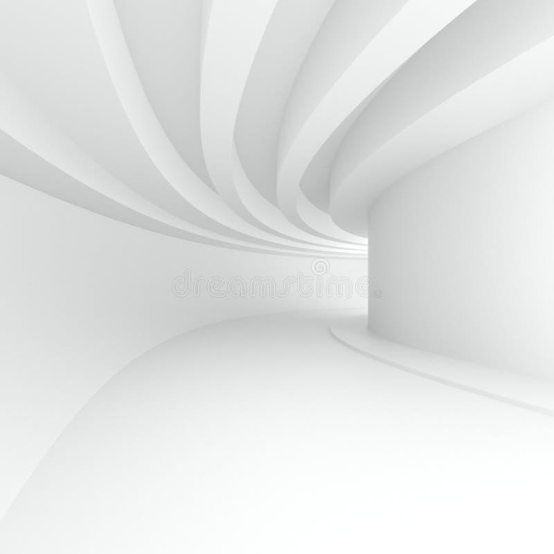 courbez le couloir avec les faisceaux circulaires sur le plafond dans la perspective illustration stock