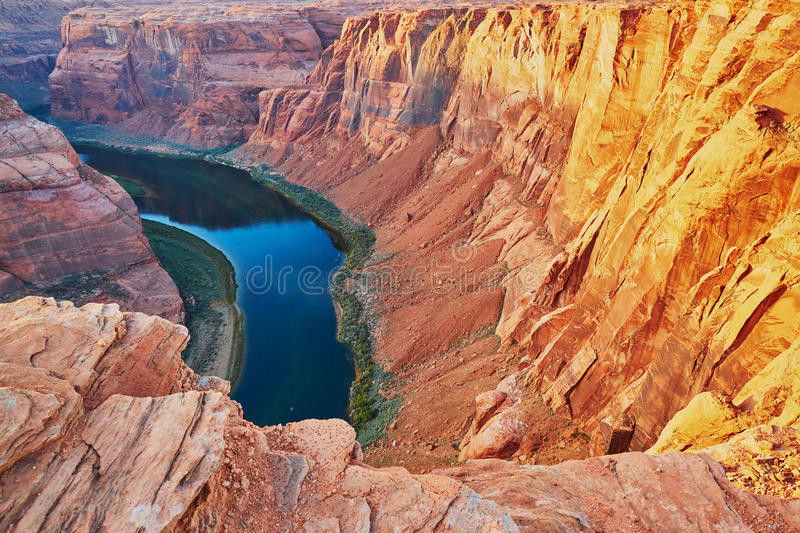 Courbure en fer à cheval dans le canyon du Colorado, Arizona, Etats-Unis photo stock
