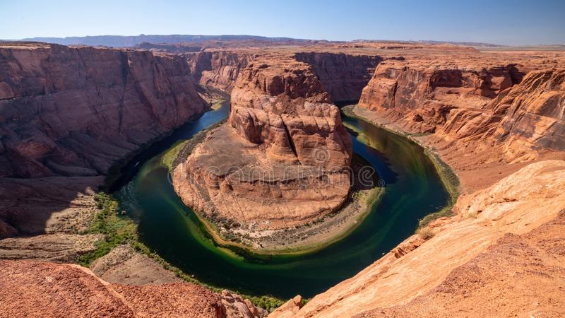 Courbure en fer à cheval, vue panoramique, Arizona photographie stock