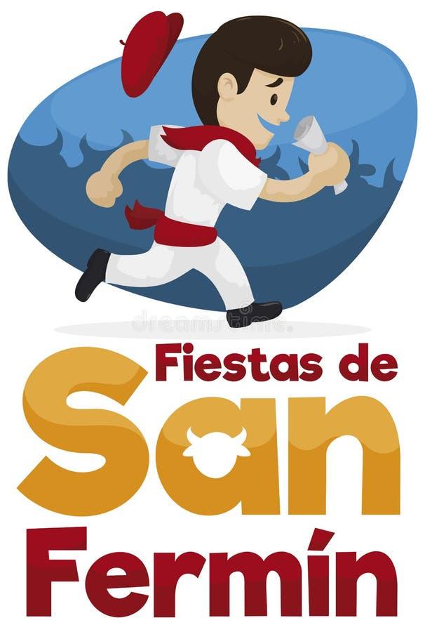 Coureur d'Espagnol avec les vêtements traditionnels célébrant San Fermin Festival, illustration de vecteur illustration de vecteur
