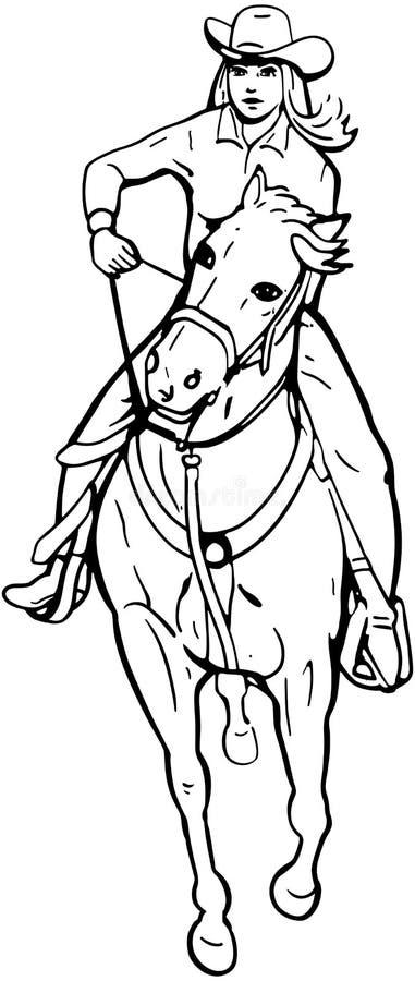 Coureur de baril de cow-girl illustration stock
