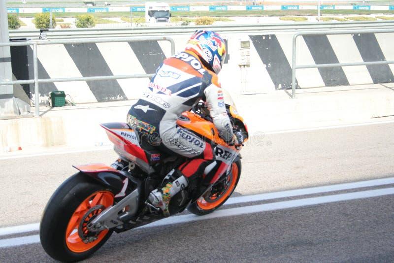 Coureur Nicky Hayden à Valence photo stock