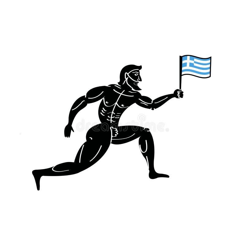 Coureur sportif du grec ancien avec le drapeau national de la Grèce illustration libre de droits