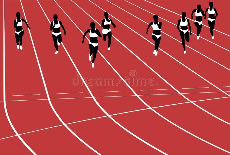 Coureurs de femmes de groupe courant des sprints dans le stade illustration stock