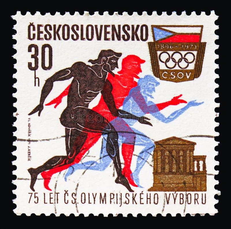 Coureurs, parthenon, le Comité olympique tchèque, soixante-quinzième Anniversa photos libres de droits