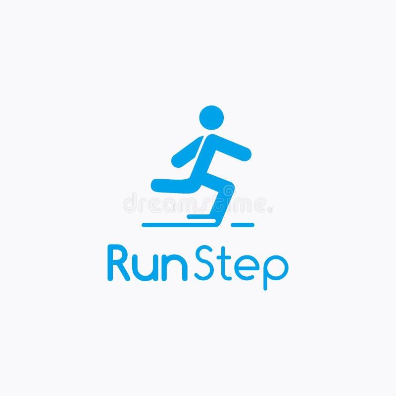 Courez l'étape ou le concept de construction rapide de logo de la livraison, calibre de logo de sport illustration de vecteur