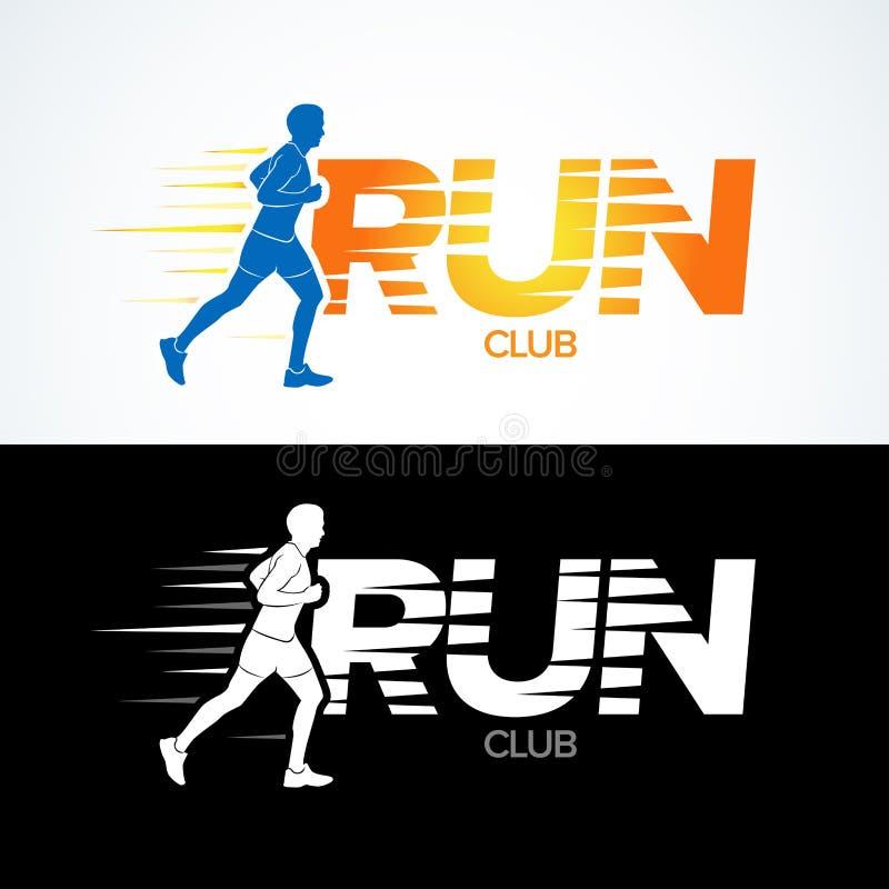 Courez le calibre de logo de club Folâtrez le calibre de logotype, le club de sports, le club courant et le calibre de conception illustration stock