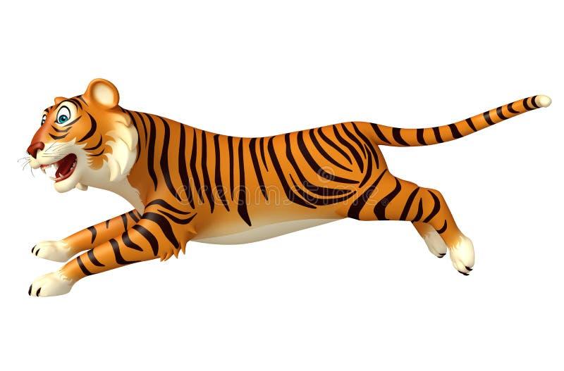 Courez le personnage de dessin animé de tigre illustration stock