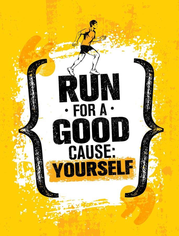 Courez pour une bonne cause vous-même Citation de inspiration de motivation de marathon Concept grunge de bannière de typographie illustration de vecteur