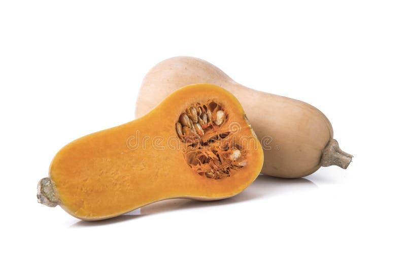 Courge de butternut fraîche d'isolement sur un blanc photos stock