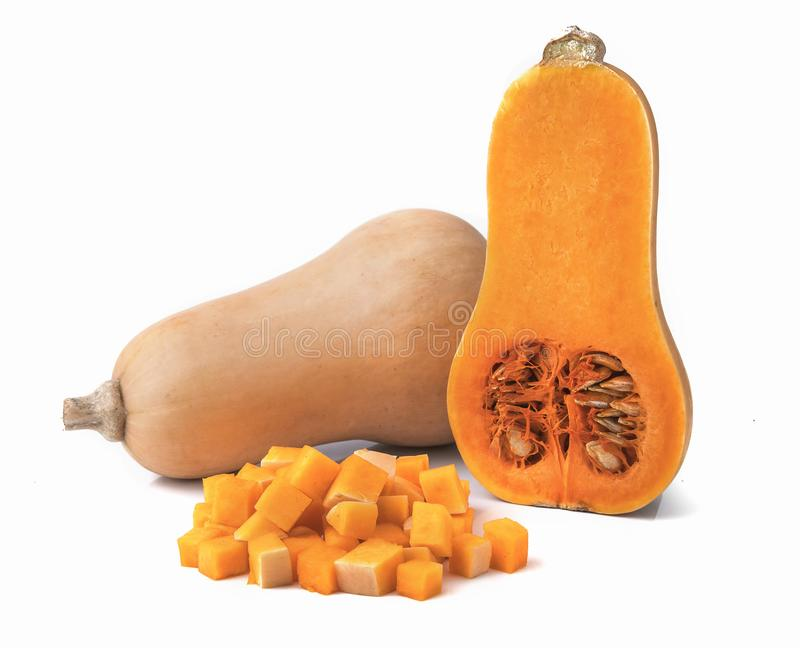 Courge de butternut fra?che d'isolement sur un blanc images stock