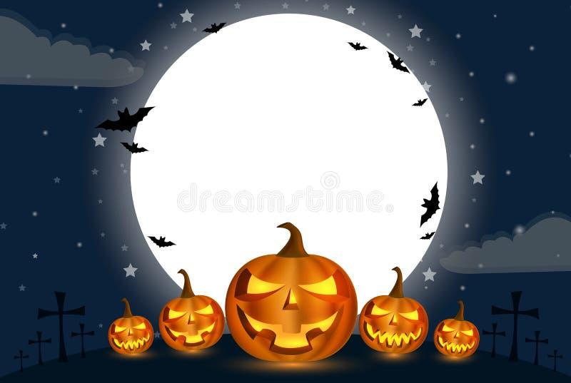 Courge de calebasse de vacances de Halloween devant la grande lune avec un nuage ci-dessous pendant la nuit avec une étoile plein illustration libre de droits