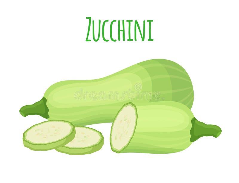 Courge fraîche de courgette, légume végétarien Style plat de bande dessinée Illustration de vecteur illustration libre de droits