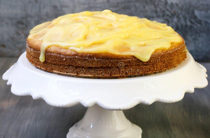 Courgette and lemon cake. Courgette and lemon cream cake royalty free stock photo