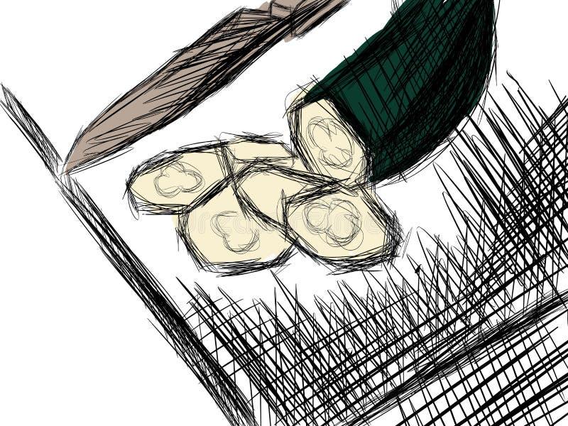 Courgette sur une planche à découper avec le couteau illustration de vecteur