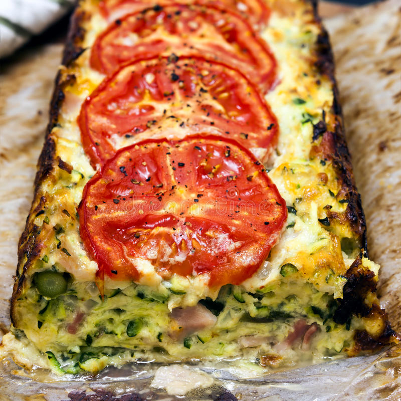 Courgette And Tomato Pie Royalty Free Stock Image
