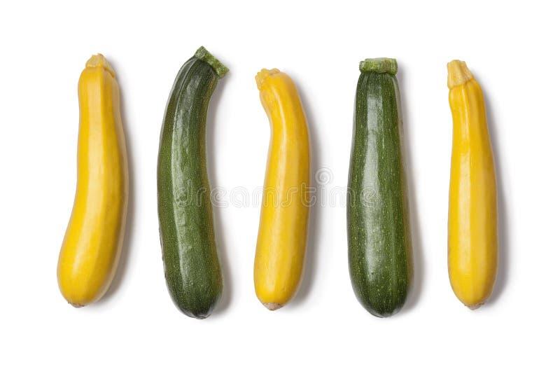Courgettes amarelos e verdes fotografia de stock royalty free
