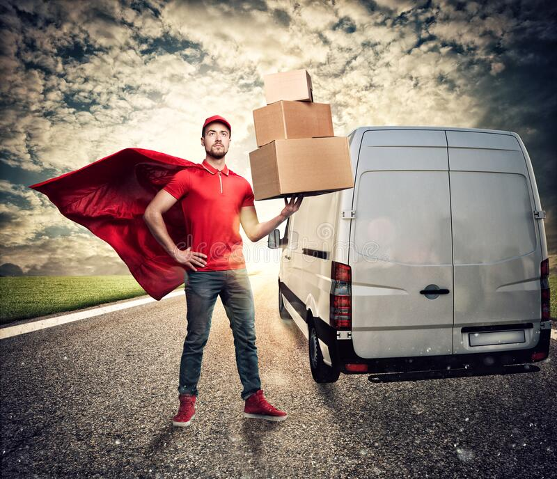Courier acts like a powerful superhero in a city with skyscrapers. Concept of success and guarantee on shipment stock photo