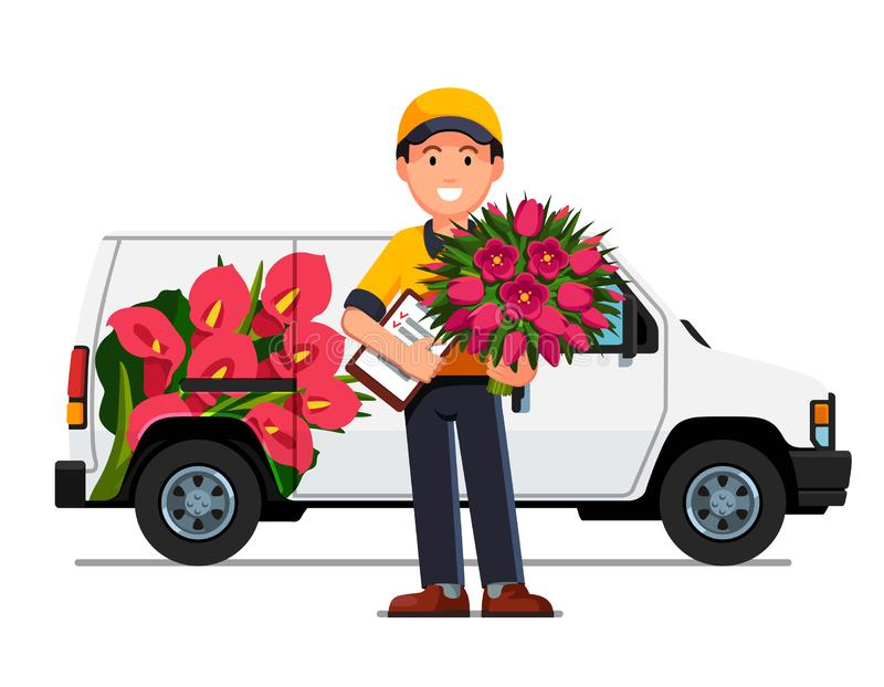 Courier boy with flowers bouquet, delivery truck. Smiling courier boy holding flowers bouquet and order check list paperclip. Delivery man truck with advertising royalty free illustration