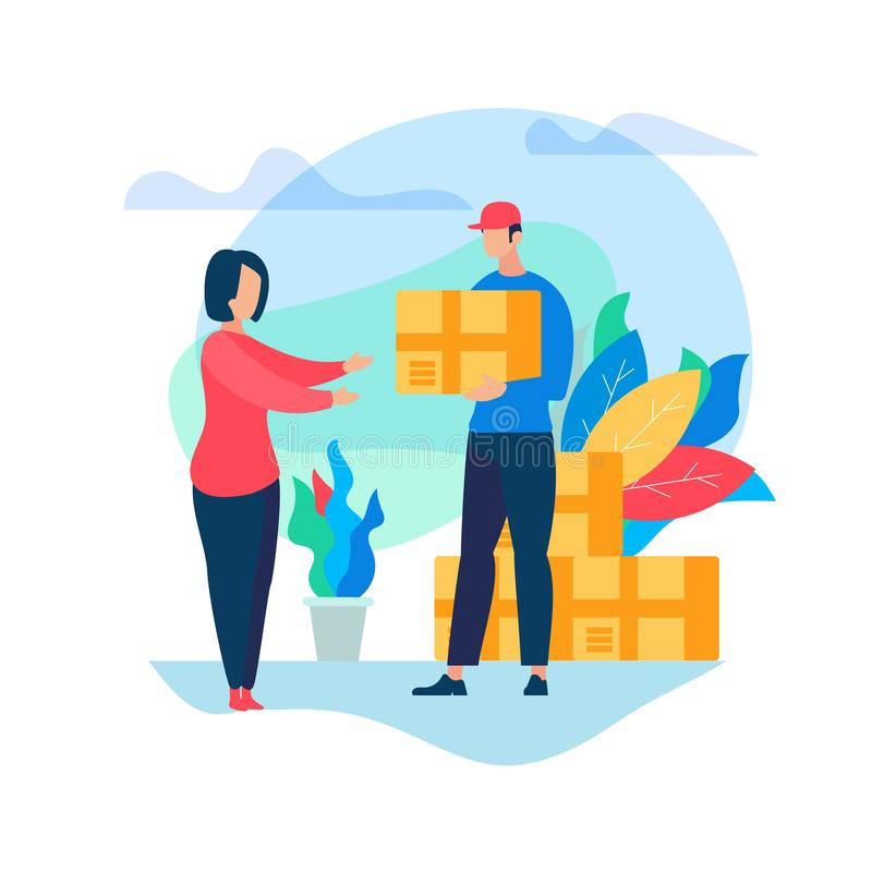 Courier Deliver Box Parcel to Young Woman Consumer royalty free illustration